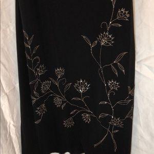 BCBGMAXAZRIA blk dress w gold flower detail